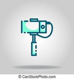 monopod icon or logo in  twotone - Logo or symbol of monopod...