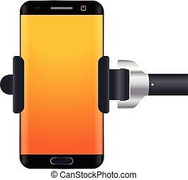 illustration of monopod iwth smartphone isolated on white background