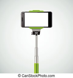 Monopod Selfie Front Green. Device Of Hipsters. Vector illustration