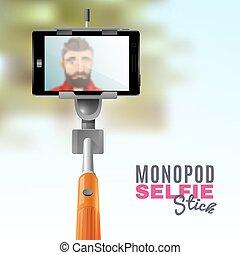Monopod Selfie Illustration