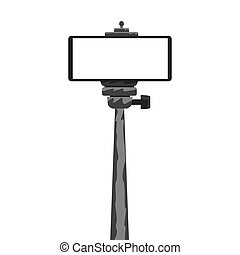 Monopod Selfie stick with empty smartphone screen for your design. Vector illustration.