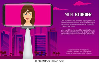 Monopod Selfie stick with girl face making travel video blogger. City view on background. Vector illustration.