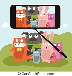 Monopod Selfie with cartoon animals .Vector