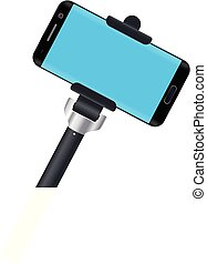 illustration of monopod with smartphone on white background