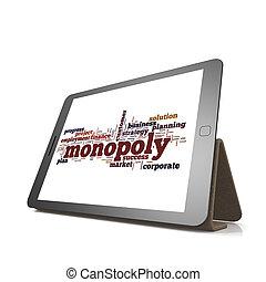 monopolie, woord, wolk, op, tablet