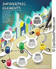 monopolio, estilo, infographic, con, pluma, escritura, comienzo, en, mapa