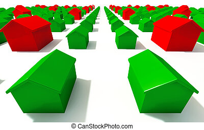 Monopoly House Grid Top - A closeup of green and red toy ...