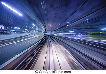 Monorail Blur - Monorail motion blur on the Yurikamome in...