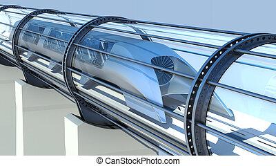 monorail futuristic train in tunnel. 3d rendering - monorail...
