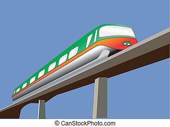 Monorail - A Green and Orange Monorail Train on a bridge