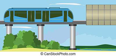 Monorail - Modern monorail train.  EPS10, opacity