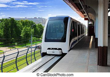 monorail, jeûne, train, sur, ferroviaire