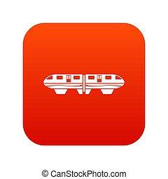 monorail, tog, ikon, digitale, rød