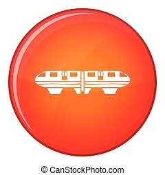 Monorail train icon, flat style - Monorail train icon in red...