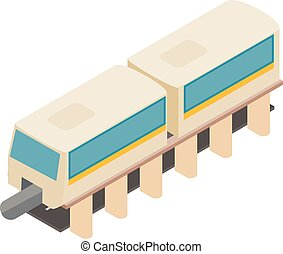 Monorail train icon, isometric style