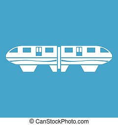 Monorail train icon white isolated on blue background vector...