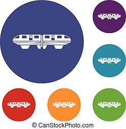 Monorail train icons set in flat circle reb, blue and green...