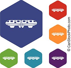 Monorail train icons set rhombus in different colors...