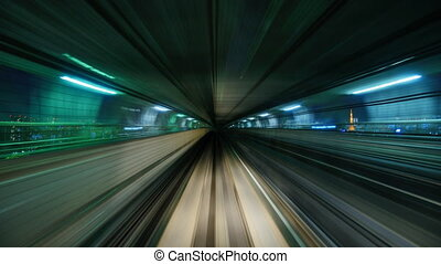 Monorail Train Ride on the Yurikamome New Transit Line in...