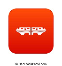 monorail, trein, pictogram, digitale , rood