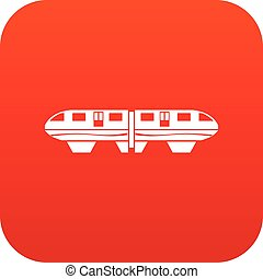 monorail, trem, ícone, digital, vermelho