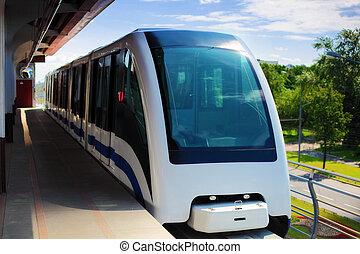 monorail, vasten, trein, op, spoorweg