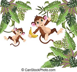 monos, en, árboles de palma, vector, ilustración