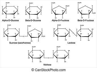Structural formulas of the main cyclic monosaccharides and disaccharides. Isolated 2D Illustration