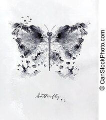 Monotype butterfly drawing with black and white on paper background