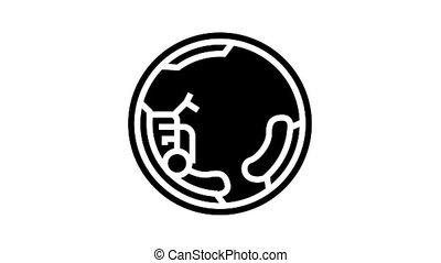 monowheel motorbike animated glyph icon. monowheel motorbike sign. isolated on white background