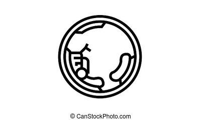 monowheel motorbike animated black icon. monowheel motorbike sign. isolated on white background