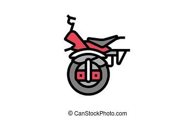monowheel motorbike vehicle animated color icon. monowheel motorbike vehicle sign. isolated on white background