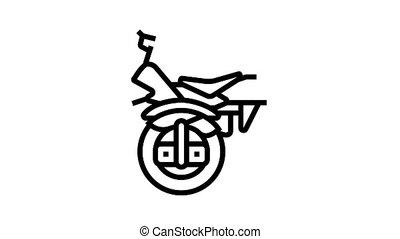 monowheel motorbike vehicle animated black icon. monowheel motorbike vehicle sign. isolated on white background