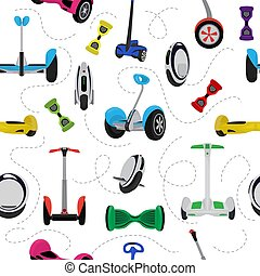 Monowheel solo wheel hoverboard vector gyroscooter set electro eco transport illustration seamless pattern background