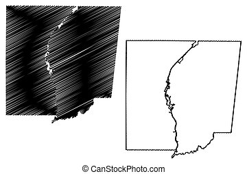 Monroe County, Mississippi (U.S. county, United States of America, USA, U.S., US) map vector illustration, scribble sketch Monroe map