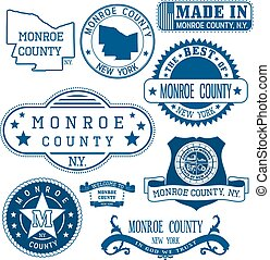 Monroe county, New York. Set of stamps and signs. - Monroe ...