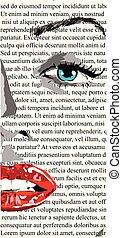 monroe., dziewczyna, sztuka, usteczka, piękny, podobny, twarz, biały, zacisk, kobieta, czerwony, pół, gazeta