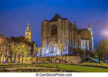 mons, belgium., são, waltrude, igreja