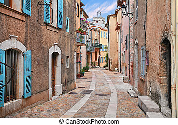 Mons, Var, Provence, France: picturesque alley in the old ...