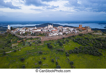 Monsaraz drone aerial view in Alentejo at sunset, in Portugal