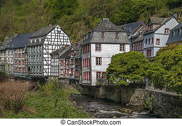 monschau, río, casas, alemania, rur, por