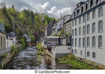 monschau, rivière, maisons, allemagne, rur, long