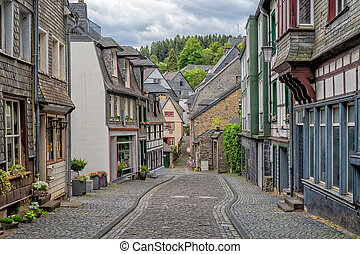 monschau, viejo, alemania, hermoso, pueblo, vista