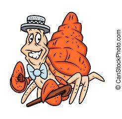 monsieur, caractère, dessin animé, crabe