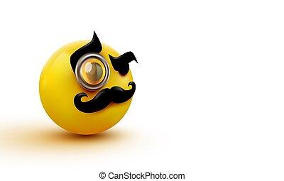 monsieur, monocle., monsieur, icône, emoticon., moustache