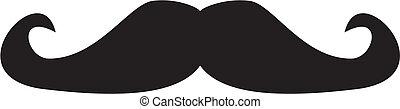 monsieur, vecteur, noir, moustache