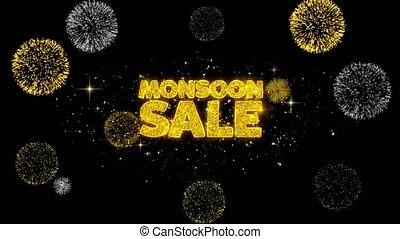 Monsoon Sale Golden Text Blinking Particles with Golden...