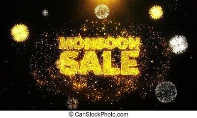 Monsoon Sale Wishes Greetings card, Invitation, Celebration Firework Looped