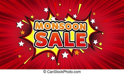 Monsoon Sale Word Retro Cartoon Comic Bubbles Seamless loop
