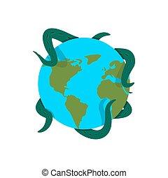 monster., 巨人, 征服, planet., cthulhu, 触手, 抱き合う, 地球, タコ, 地球
